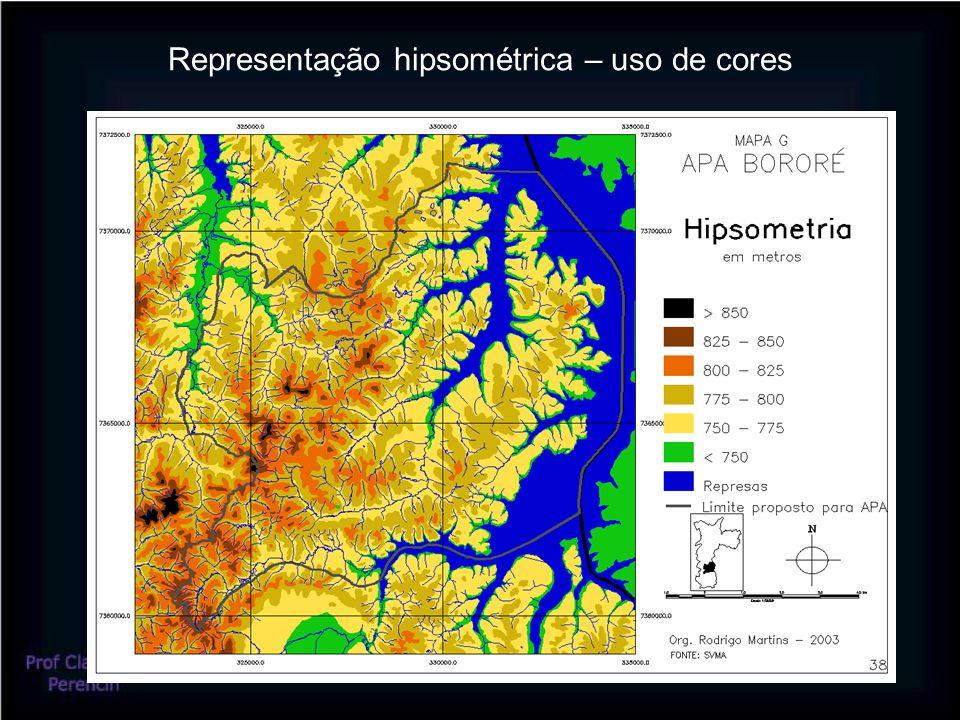 Representação hipsométrica – uso de cores