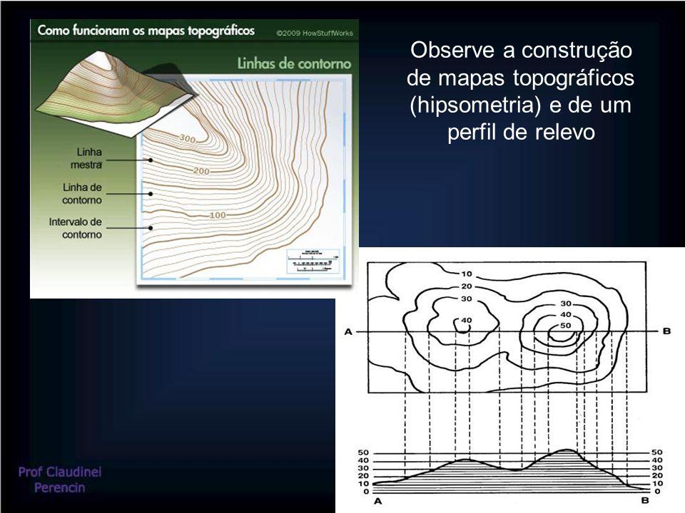 Observe a construção de mapas topográficos (hipsometria) e de um perfil de relevo