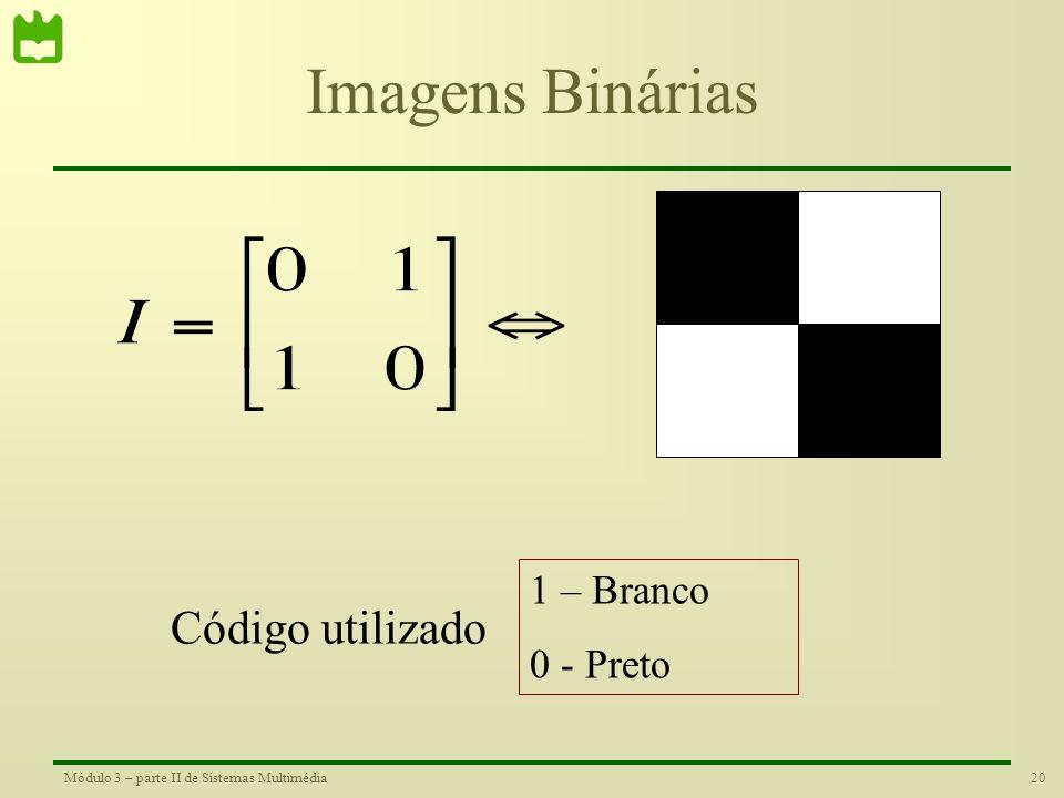 Imagens Binárias 1 – Branco 0 - Preto Código utilizado