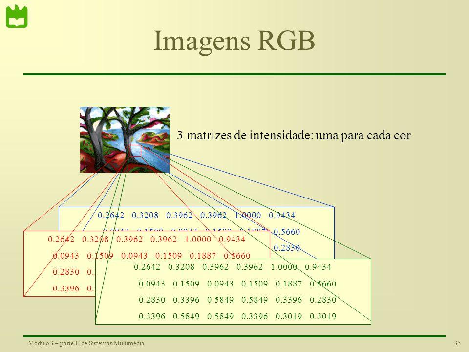 Imagens RGB 3 matrizes de intensidade: uma para cada cor