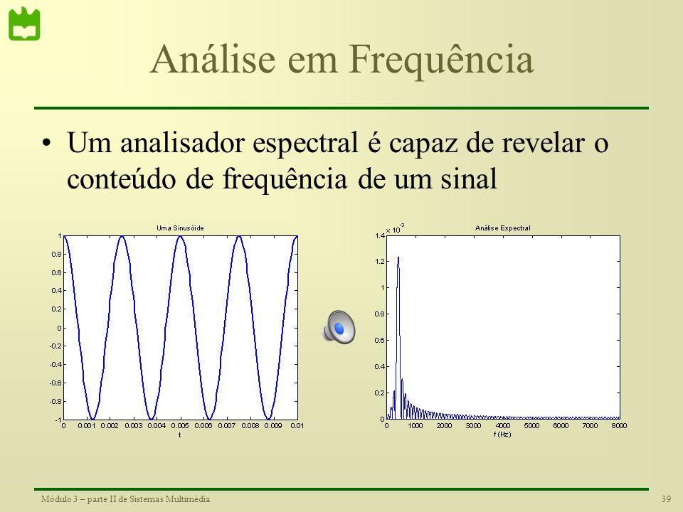 Análise em Frequência Um analisador espectral é capaz de revelar o conteúdo de frequência de um sinal.