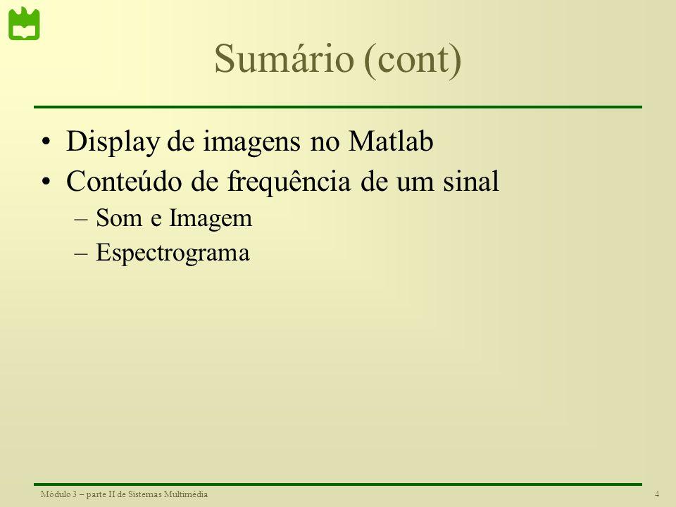 Sumário (cont) Display de imagens no Matlab