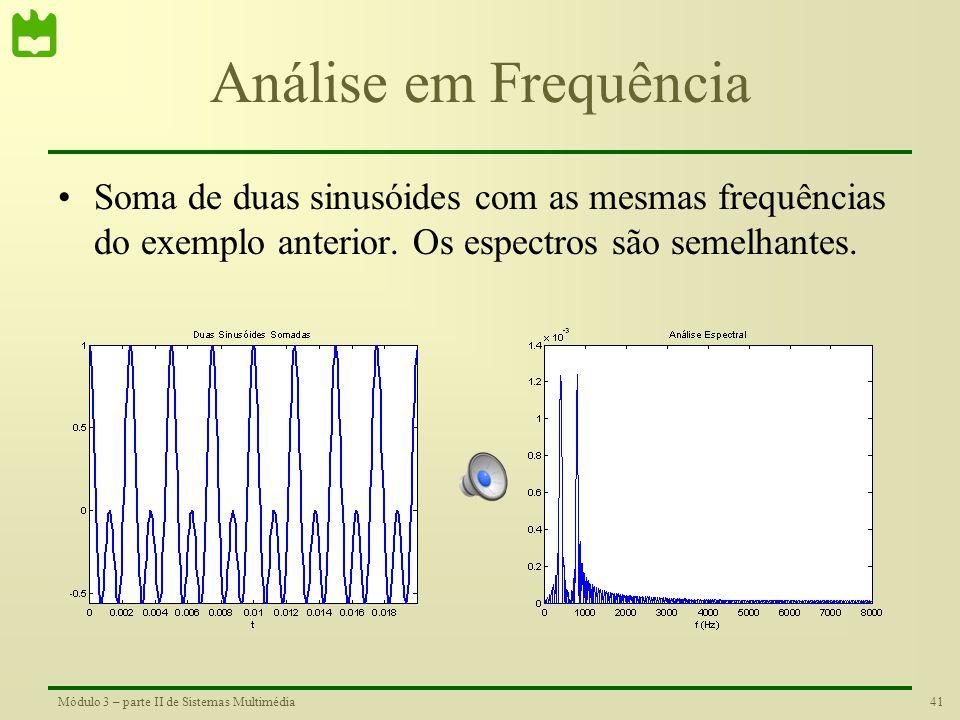 Análise em Frequência Soma de duas sinusóides com as mesmas frequências do exemplo anterior.