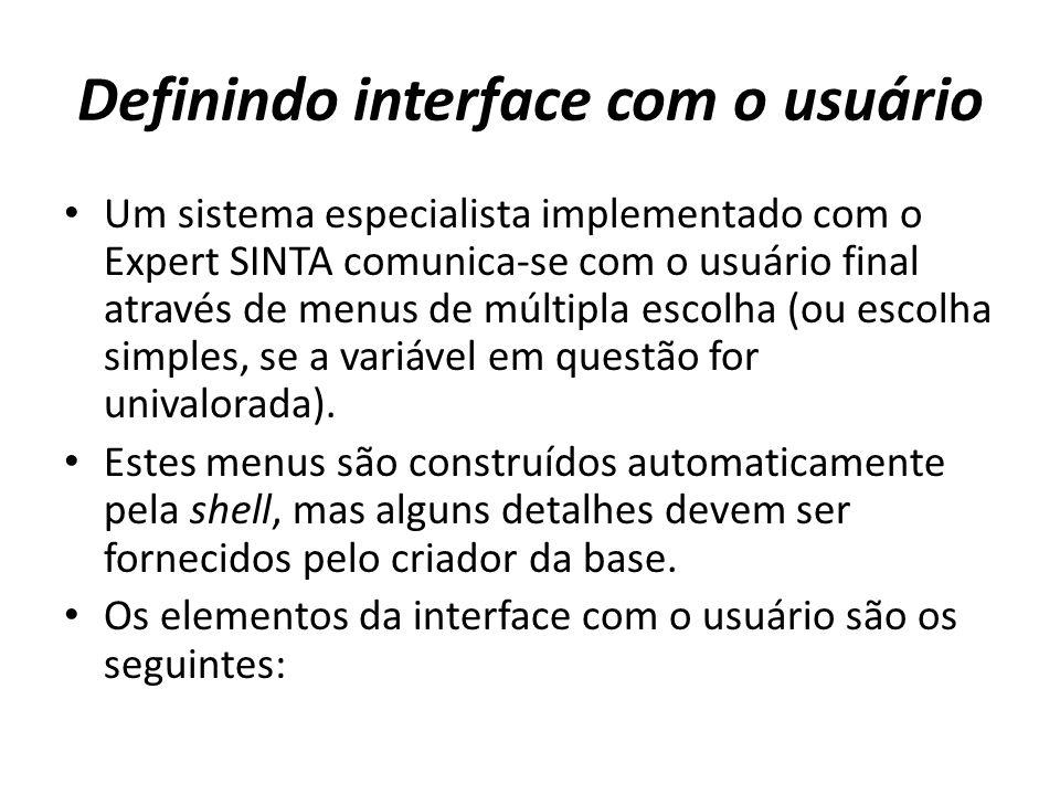 Definindo interface com o usuário
