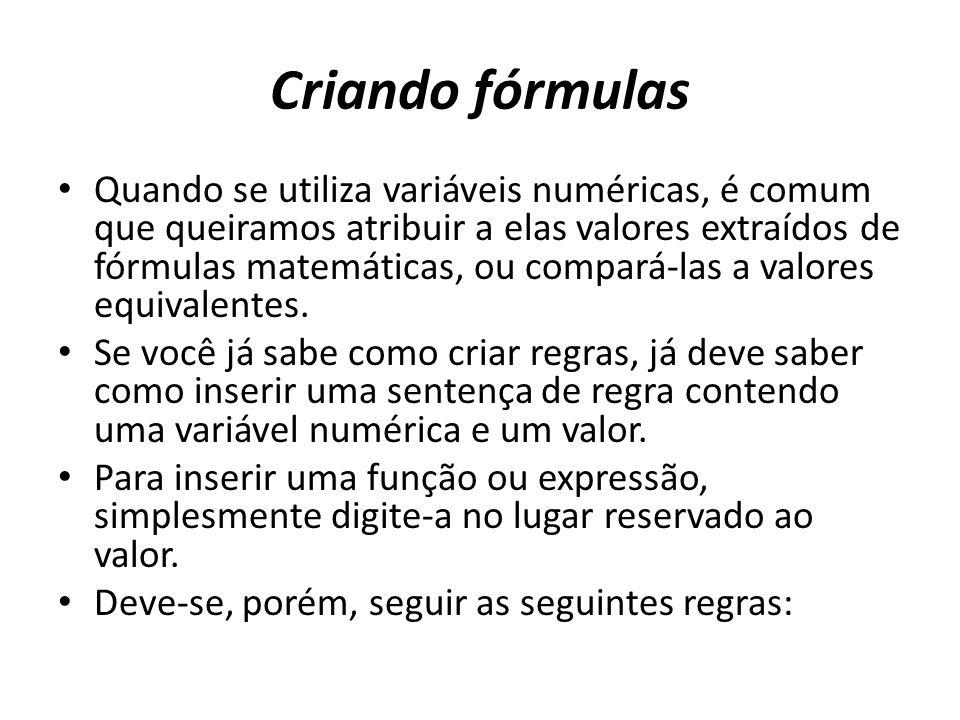 Criando fórmulas
