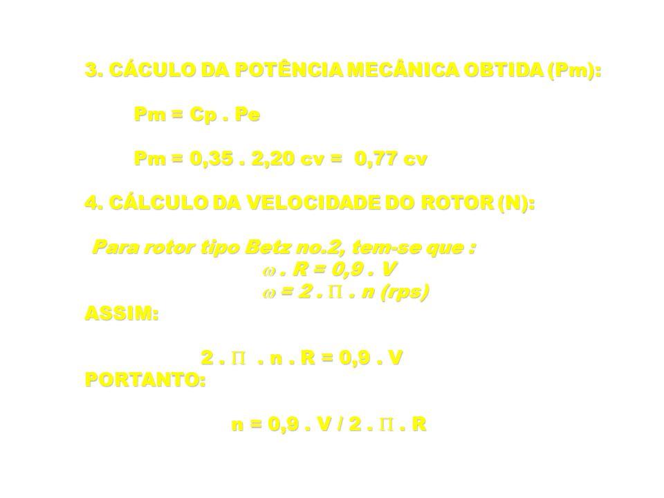 3. CÁCULO DA POTÊNCIA MECÂNICA OBTIDA (Pm):