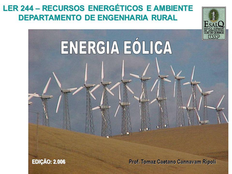 ENERGIA EÓLICA LER 244 – RECURSOS ENERGÉTICOS E AMBIENTE