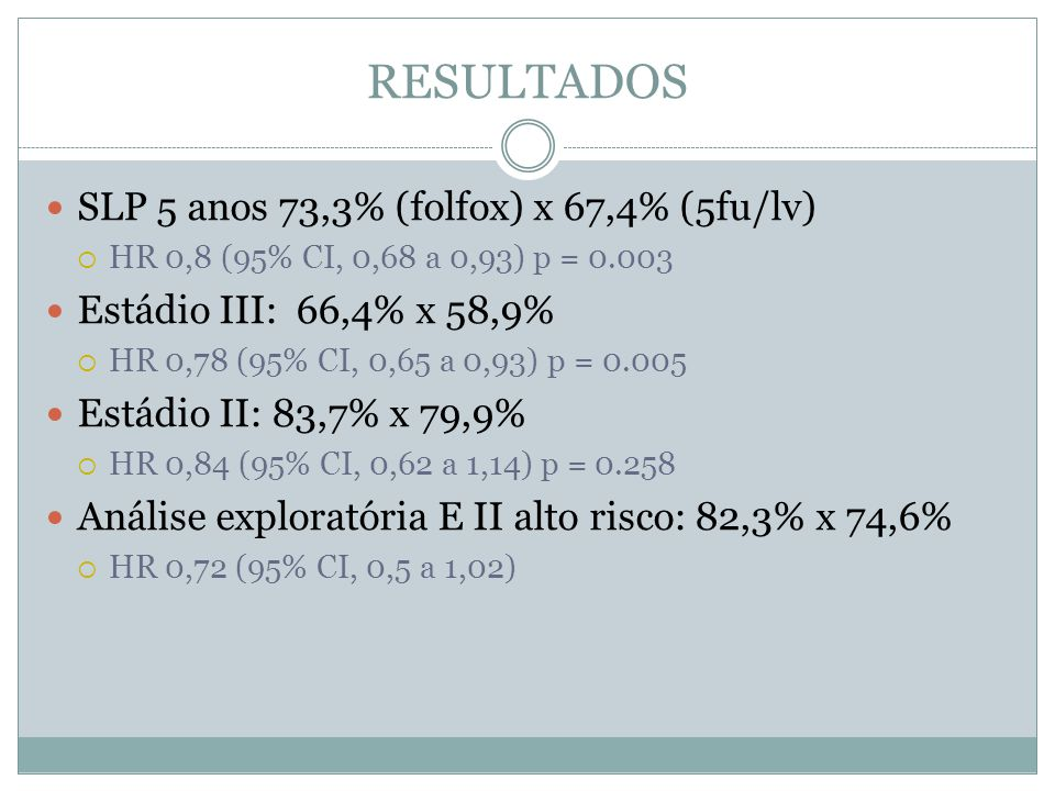 RESULTADOS SLP 5 anos 73,3% (folfox) x 67,4% (5fu/lv)