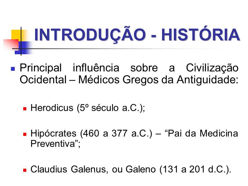 INTRODUÇÃO - HISTÓRIA Principal influência sobre a Civilização Ocidental – Médicos Gregos da Antiguidade: