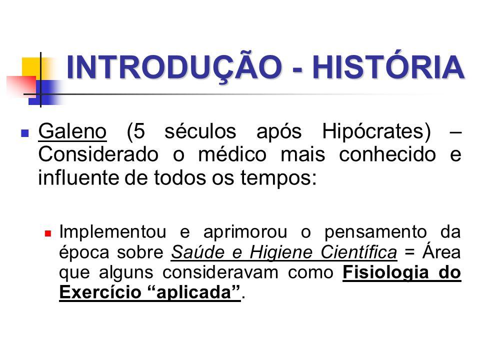 INTRODUÇÃO - HISTÓRIA Galeno (5 séculos após Hipócrates) – Considerado o médico mais conhecido e influente de todos os tempos: