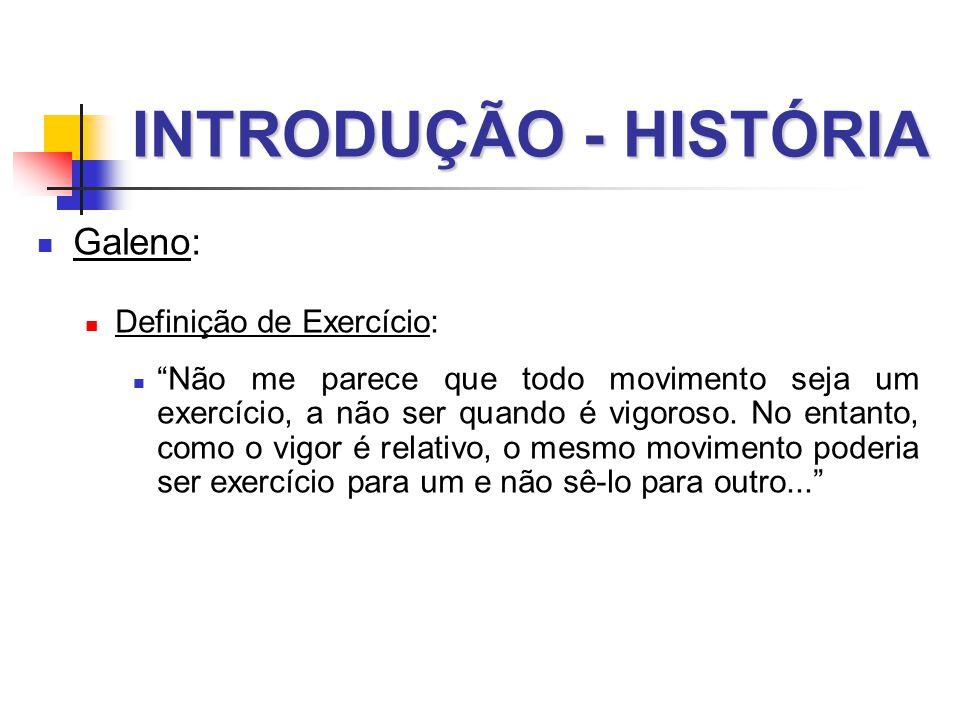 INTRODUÇÃO - HISTÓRIA Galeno: Definição de Exercício: