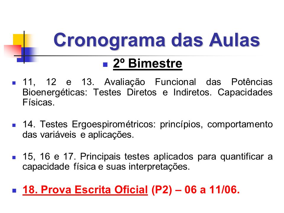 Cronograma das Aulas 2º Bimestre