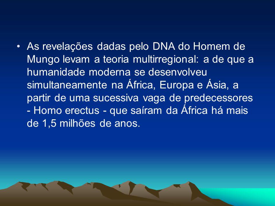 As revelações dadas pelo DNA do Homem de Mungo levam a teoria multirregional: a de que a humanidade moderna se desenvolveu simultaneamente na África, Europa e Ásia, a partir de uma sucessiva vaga de predecessores - Homo erectus - que saíram da África há mais de 1,5 milhões de anos.