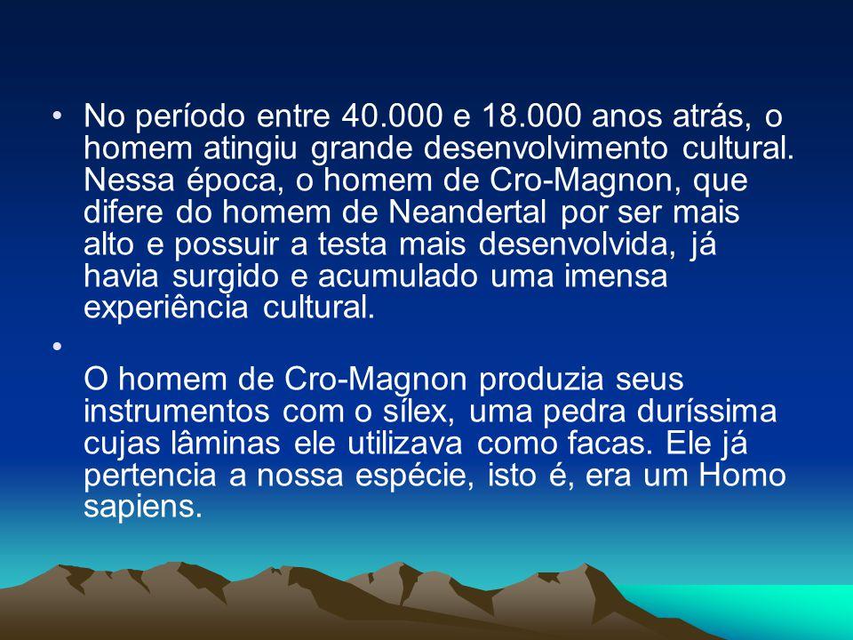 No período entre 40.000 e 18.000 anos atrás, o homem atingiu grande desenvolvimento cultural. Nessa época, o homem de Cro-Magnon, que difere do homem de Neandertal por ser mais alto e possuir a testa mais desenvolvida, já havia surgido e acumulado uma imensa experiência cultural.