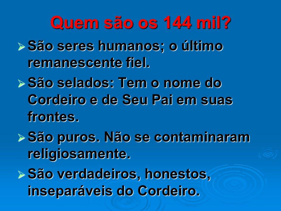 Quem são os 144 mil São seres humanos; o último remanescente fiel.