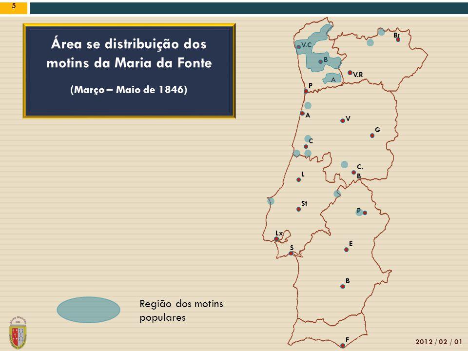 Área se distribuição dos motins da Maria da Fonte