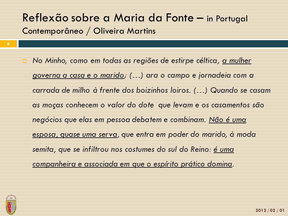Reflexão sobre a Maria da Fonte – in Portugal Contemporâneo / Oliveira Martins