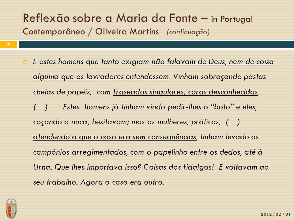 Reflexão sobre a Maria da Fonte – in Portugal Contemporâneo / Oliveira Martins (continuação)