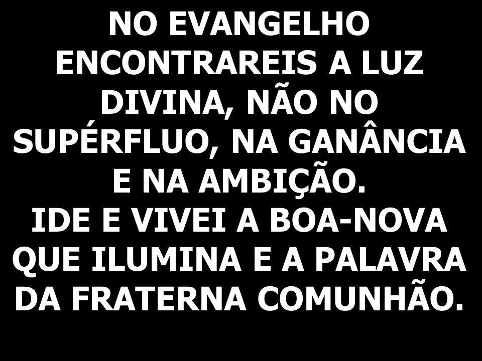 IDE E VIVEI A BOA-NOVA QUE ILUMINA E A PALAVRA DA FRATERNA COMUNHÃO.
