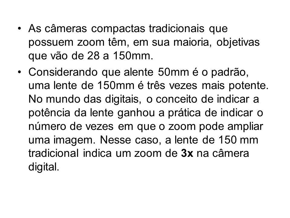 As câmeras compactas tradicionais que possuem zoom têm, em sua maioria, objetivas que vão de 28 a 150mm.