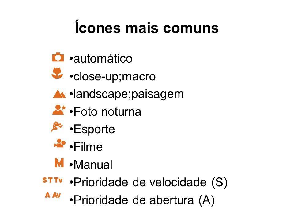Ícones mais comuns automático close-up;macro landscape;paisagem