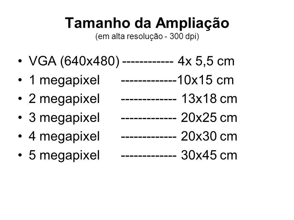 Tamanho da Ampliação (em alta resolução - 300 dpi)