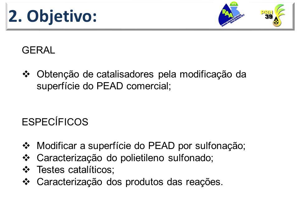 2. Objetivo: GERAL. Obtenção de catalisadores pela modificação da superfície do PEAD comercial; ESPECÍFICOS.