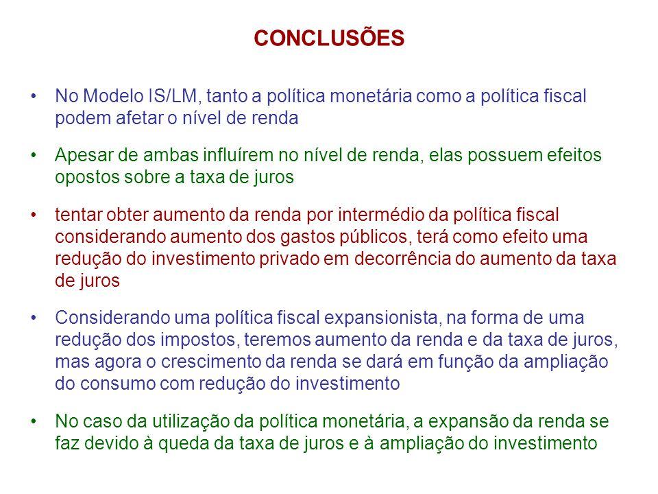 CONCLUSÕES No Modelo IS/LM, tanto a política monetária como a política fiscal podem afetar o nível de renda.