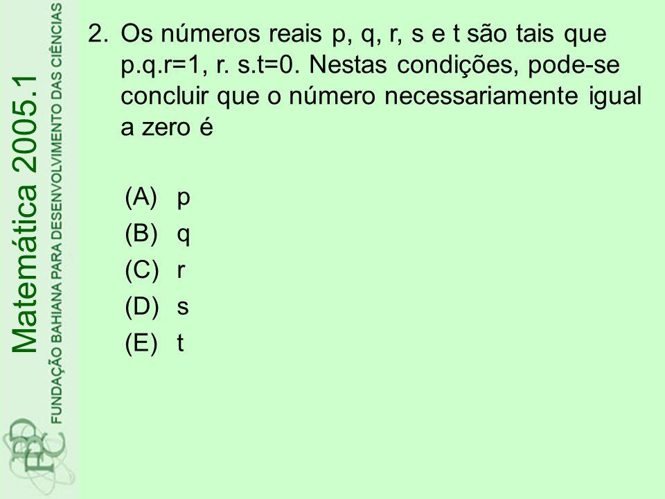 Os números reais p, q, r, s e t são tais que p. q. r=1, r. s. t=0