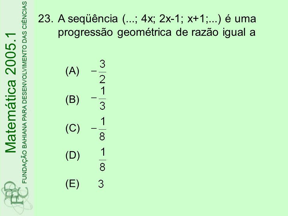 A seqüência (. ; 4x; 2x-1; x+1;