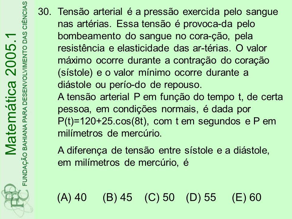 Matemática 2005.1 (A) 40 (B) 45 (C) 50 (D) 55 (E) 60