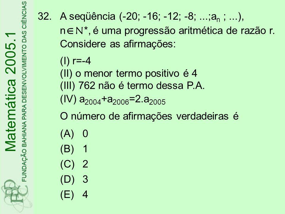 A seqüência (-20; -16; -12; -8;. ;an ;. ), nN