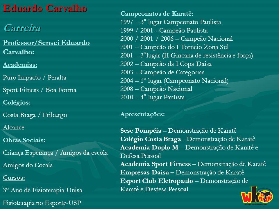 Eduardo Carvalho Carreira Professor/Sensei Eduardo Carvalho: