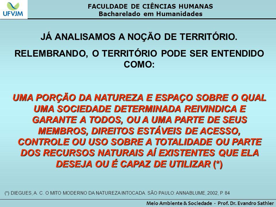JÁ ANALISAMOS A NOÇÃO DE TERRITÓRIO.