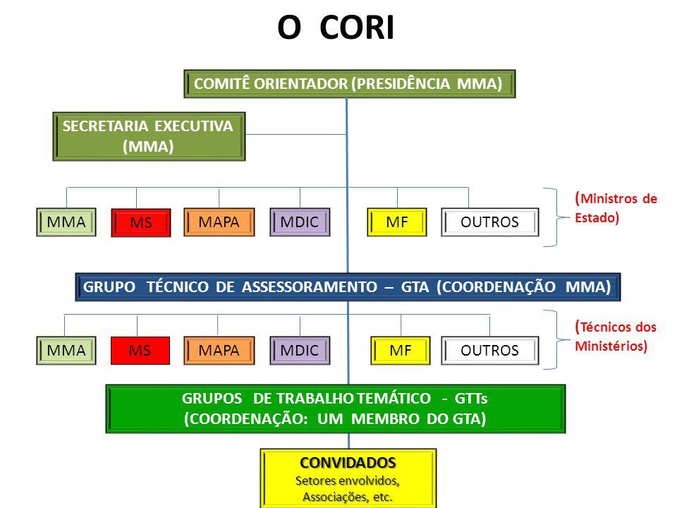 O CORI COMITÊ ORIENTADOR (PRESIDÊNCIA MMA) SECRETARIA EXECUTIVA (MMA)