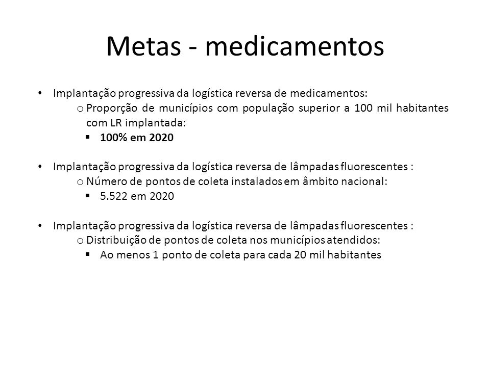 Metas - medicamentos Implantação progressiva da logística reversa de medicamentos: