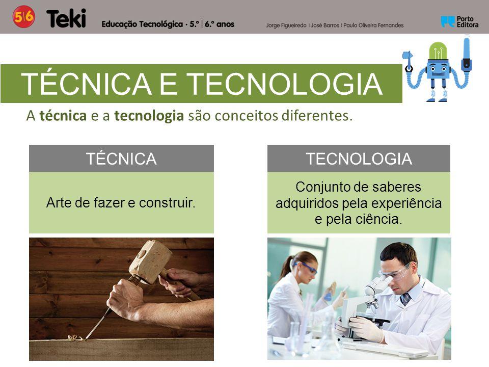 TÉCNICA E TECNOLOGIA A técnica e a tecnologia são conceitos diferentes. TÉCNICA. TECNOLOGIA. Arte de fazer e construir.