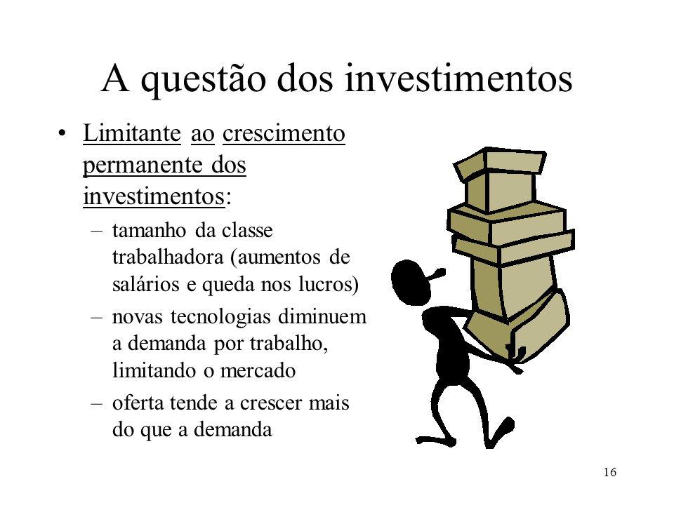 A questão dos investimentos