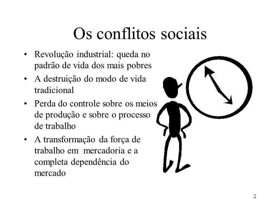 Os conflitos sociais Revolução industrial: queda no padrão de vida dos mais pobres. A destruição do modo de vida tradicional.