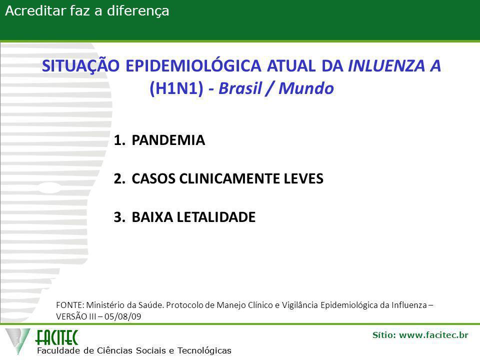 SITUAÇÃO EPIDEMIOLÓGICA ATUAL DA INLUENZA A (H1N1) - Brasil / Mundo