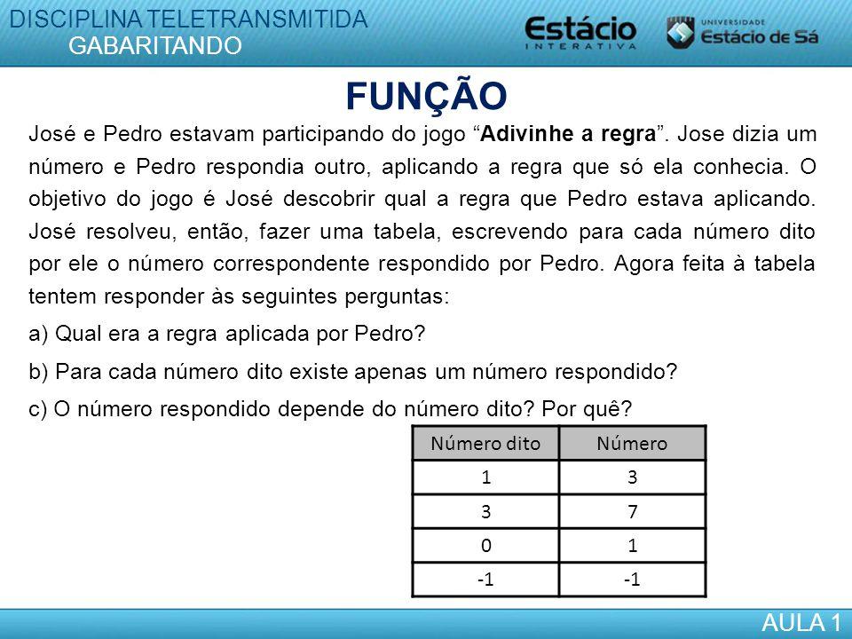FUNÇÃO DISCIPLINA TELETRANSMITIDA GABARITANDO AULA 1