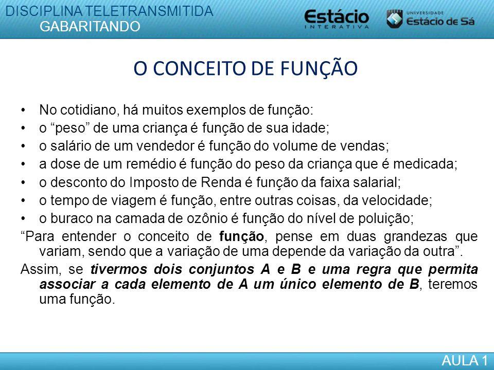 O CONCEITO DE FUNÇÃO DISCIPLINA TELETRANSMITIDA GABARITANDO