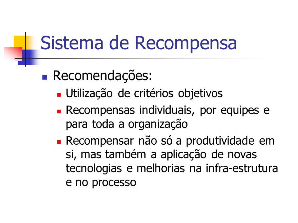 Sistema de Recompensa Recomendações: Utilização de critérios objetivos
