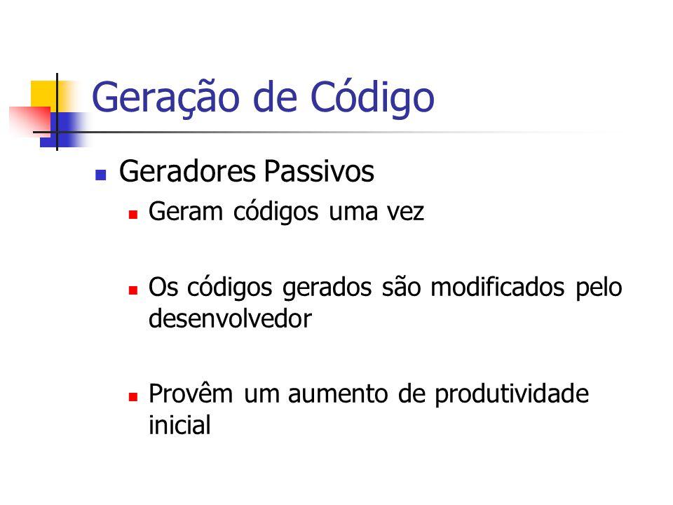 Geração de Código Geradores Passivos Geram códigos uma vez