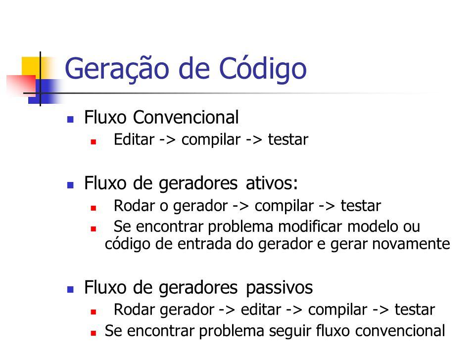 Geração de Código Fluxo Convencional Fluxo de geradores ativos:
