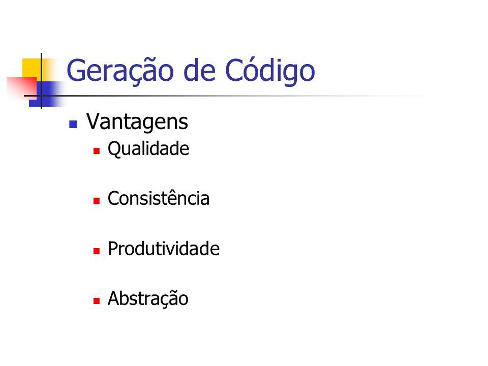 Geração de Código Vantagens Qualidade Consistência Produtividade