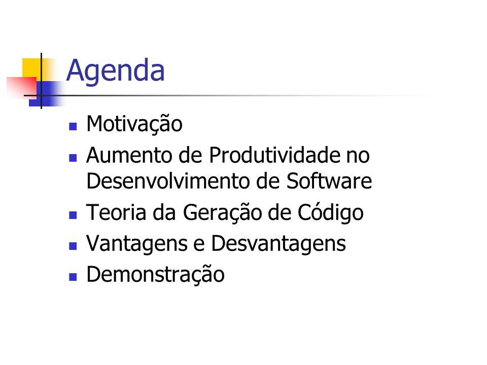 Agenda Motivação. Aumento de Produtividade no Desenvolvimento de Software. Teoria da Geração de Código.