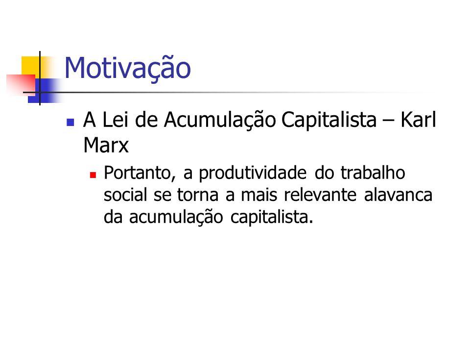 Motivação A Lei de Acumulação Capitalista – Karl Marx