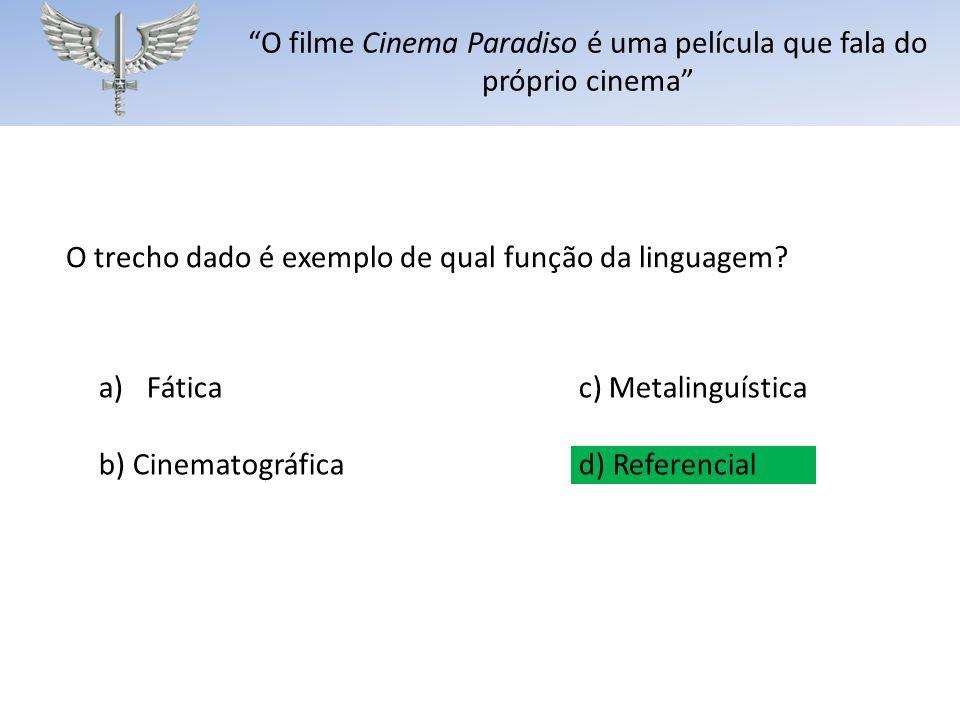 O filme Cinema Paradiso é uma película que fala do próprio cinema