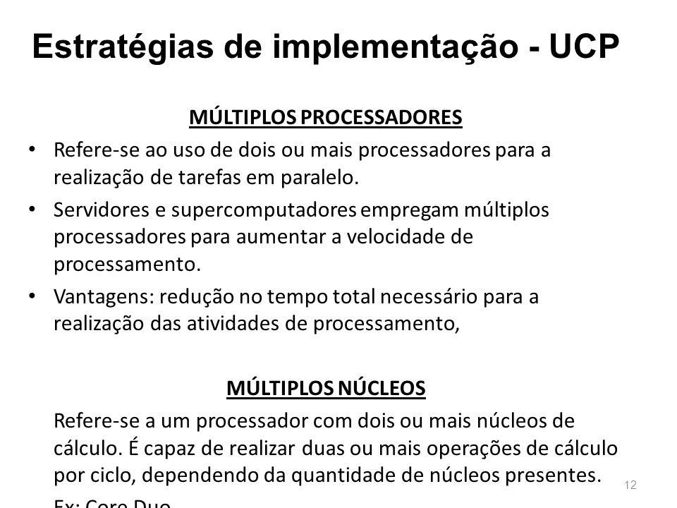 Estratégias de implementação - UCP MÚLTIPLOS PROCESSADORES